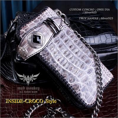 ナイルクロコダイル 財布・背面ビンテージホワイト/インサイドクロコ/コンチョオニキス