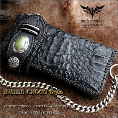 クロコダイル 財布・クラウン黒/インサイドクロコ/グリーンターコイズ