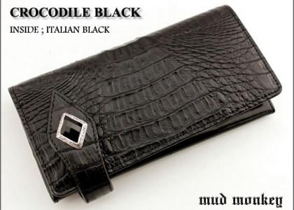 クロコダイル 財布/ブラック/ダイヤオニキスコンチョ