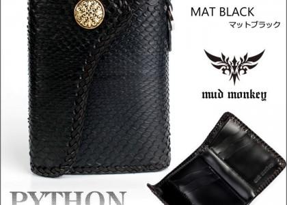 パイソンハーフ/三つ折財布 ブラック/INSIDE サドルBlack