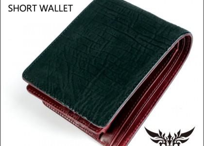 二つ折り財布 シャークレザー/鮫革ブラック/イタリアンレザーRED