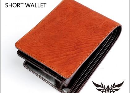 二つ折り財布 シャークレザー/鮫革キャメル/イタリアンレザーBROWN